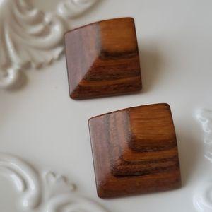 Vintage carved wood post earrings